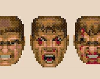 Doom - Cross Stitch Pattern - Funny Modern - Games - Retro - 150 x 50 stitches