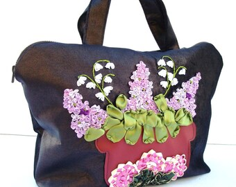 Embroidered Lilac Ribbon Bag