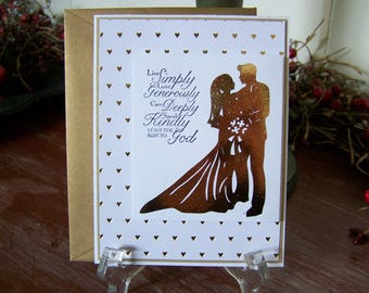 Handmade Gold Foil Wedding Greeting Card