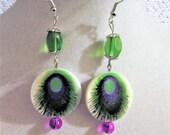 Peacock Feather Silver Earrings, Beaded Earrings, Dangle Earrings, Drop Earrings, Purple Earrings, Green Earrings, Kawaii Beaded Jewelry