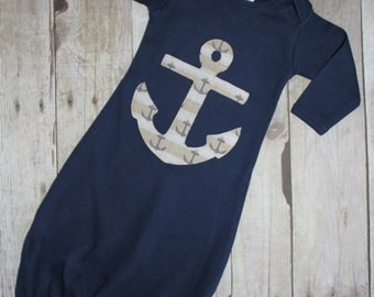 Baby Boy Anchor Gown, Going Home Gown, Anchor Gown, Nautical Gown, Take Home Gown, Baby Shower Gift, Navy Blue Gown