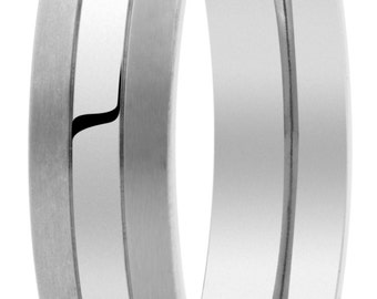 made of pure titanium mate-brillo wedding ring