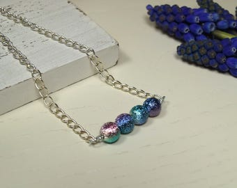Multicoloured bar necklace | Row necklace | Rainbow beaded necklace | Chain necklace | Gift for her | Delicate necklace | Bridesmaid