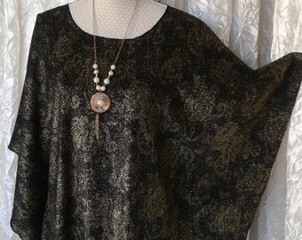 Evening Chic and trendy black gold, small gandoura small caftan, tunic hand stitched, one size