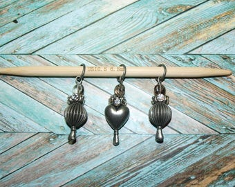 Decorative Knitting Stitch Markers - Set of Three