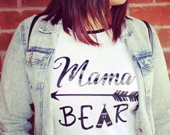 Mama Bear Fitted Cap Sleeve Baseball Tee Shirt Black White