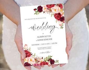 burgundy invitation | etsy, Wedding invitations