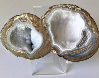 DOUBLE Dugway Geode, Utah, Rocks and Minerals, Crystals and Druzy Quartz, 188g