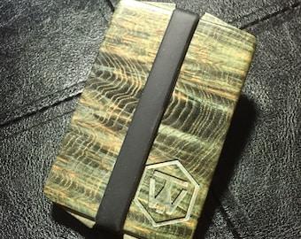 stabilized black ash burl wood wallet
