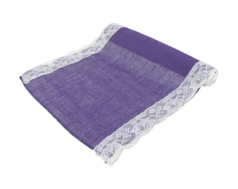 """Purple Burlap With Lace Table Runner 16"""" x 88"""""""