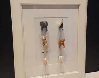 Kids room 3D animal art. 6 animals