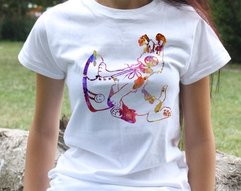 Dog and shoe t-shirt - dog tee - Fashion women's apparel - Colorful printed tee - Gift Idea
