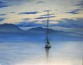 "Original Oil Painting On Canvas ""Geneva"" Size: 40cm x 50cm"