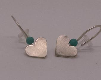 Handmade Silver Heart Earring with Turquoise Stone