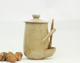 French vintage pickle jar with wooden spoon – earthenware – rustic French kitchen