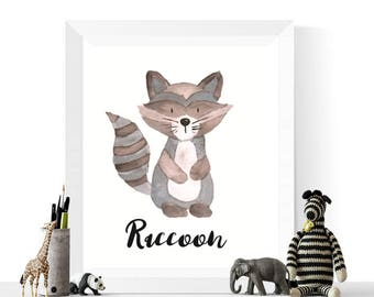 Raccoon Print | Raccoon Watercolor Printable | Woodland Animals | Watercolour | Raccoons | Woodland Animal Print | Raccoon Art
