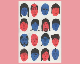16 Faces - Risograph Print