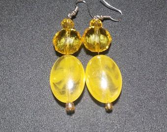 Lemon Glass Crystal Dangle Earrings