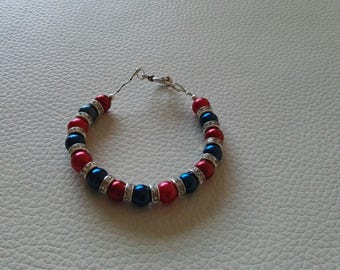 Red and Blue Pearl Bracelet