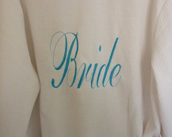 100% Cotton Jersey Bathrobes Bride, Wedding, Personalised