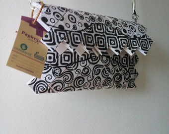 Woven paper black and white geometrical pattern handmade purse clutch