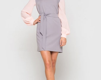 Dress, Women Dress, Dress for Women, Long sleeves Dress, Autumn/Spring Dress, Grey Dress, Pink Dress