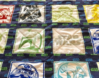 Star Wars baby quilt for a boy or girl. Beautiful modern cotton baby or toddler quilt. Great baby shower or birthday gift.