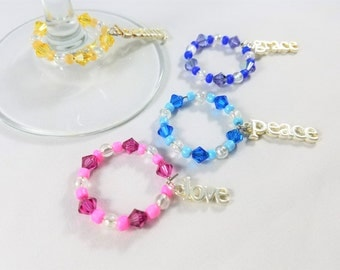 Grace and Beauty Wine Glass Charms Set of 4