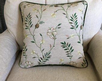 Embroidered green floral pillow cover