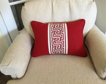 Red linen lumbar pillow cover with schumacher trim