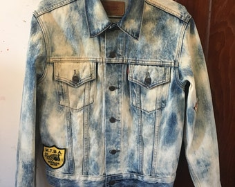 Vintage Acid Wash Levis Denim Jacket Custom Back Patch Psychedelic