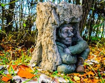 Pixie Goblin Tree Bark Garden Magical Bench and Matching Bird Bath Hand Made in UK