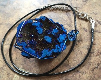 Druzy Geode Wire Wrapped Pendant.