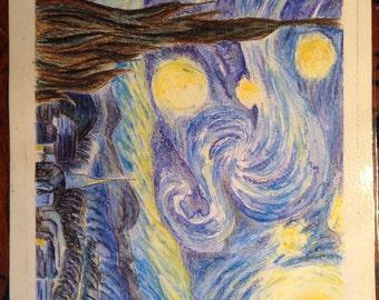 watercolor pencil van gogh starry night