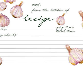 Printable Recipe Cards | Garlic