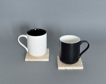 treve #2 cream travertine coaster