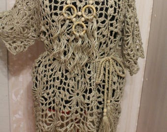 Women's dress loose overall . from jute