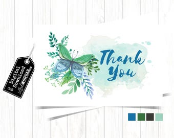 Whimsical Watercolor Butterfly Thank You Cards, Blue & Teal Thank You Card, Girl Baptism Thank You Card | INSTANT Download 4x6 JPG