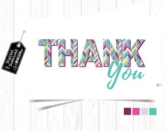 Herringbone Thank You Card, Purple, Pink & Teal Stationary Greeting Thank You Cards, Printable Thank You Card | INSTANT Download 4x6 JPG