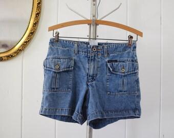 Vintage Guess Hiking Shorts/ vintage shorts, denim high waisted shorts size 27-28 small