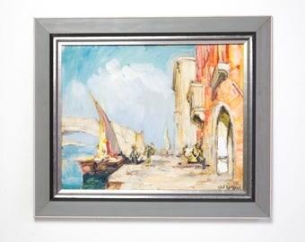 Vintage Original Oil Painting by Knut Norman Venice Motive Swedish Artist Scandinavian Fine Art European Art Mid Century Modern Fine Art