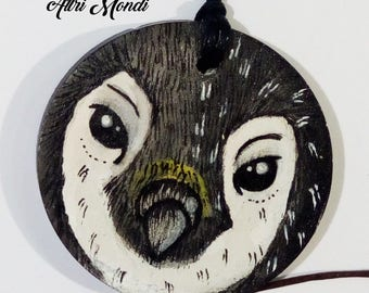 "Pendant handpainted wooden ""Penguin"""