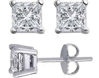 1/2 carat princess cut diamond earring studs