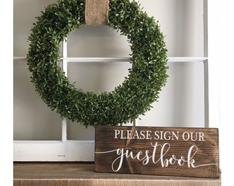 "Please Sign Our Guestbook - wedding sign  - guest sign - wedding decor-wedding prop -stained wood sign 5 1/2"" x 14"""