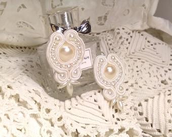 Bridal earrings, bridesmaid earrings, soutache earrings, white earrings, wedding earrings, bridal accessory, Mother's Day