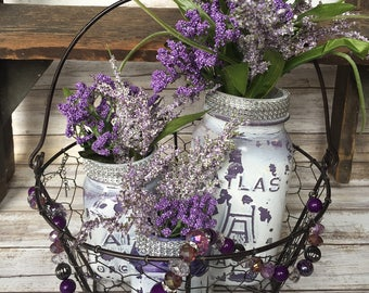 Rustic Country Basket,3 Mason Jars, Flowers and Jewelry Home Decor