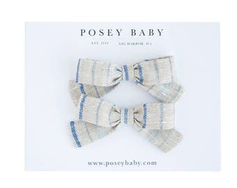 Pigtail Bows | Sand Stripe | Linen Baby Headbands & Bows