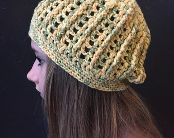 Yellow lines crochet slouchy hat