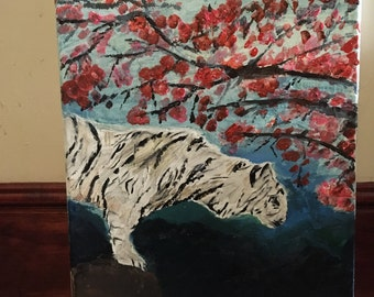 tiger and cherry tree canvas painting