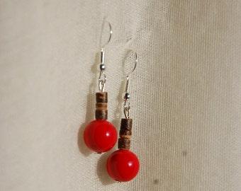Jade and coconut wood earrings